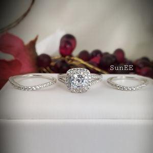 3pc Real S925 Double Halo Wedding Ring